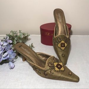 Matisse Embroidered Beaded Green Mules